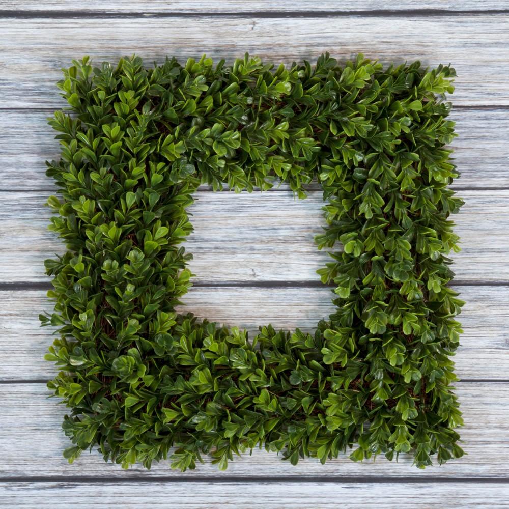 "Image of ""Square Boxwood Wreath 16.5"""" x 16.5"""" - Pure Garden"""