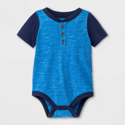 Baby Boys' Faux Creek Short Sleeve Jersey Bodysuit - Cat & Jack™ Blue Newborn