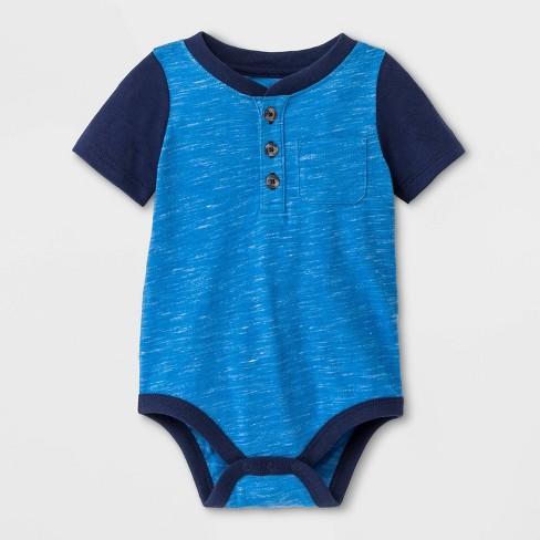 Baby Boys' Faux Creek Short Sleeve Jersey Bodysuit - Cat & Jack™ Blue - image 1 of 1