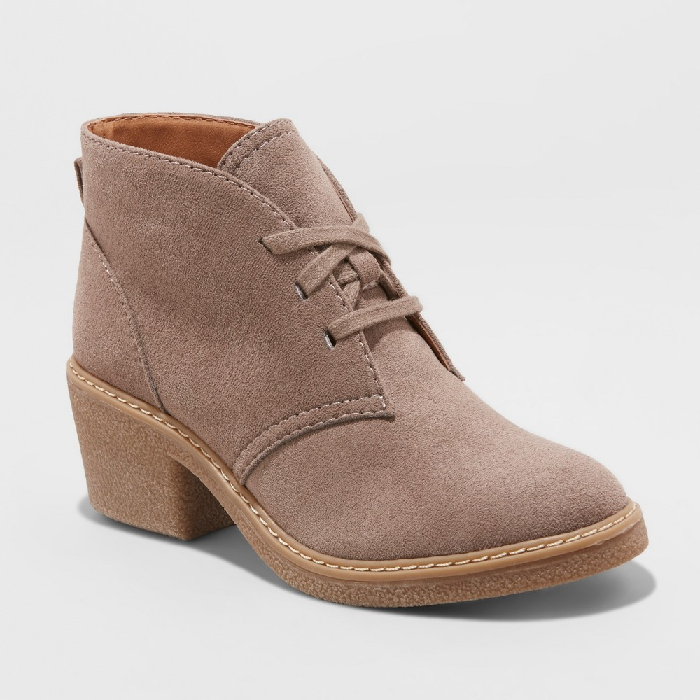 Women's Lucia Microsuede Lace-Up Heeled Ankle Booties - Universal Thread Taupe (Brown) 5