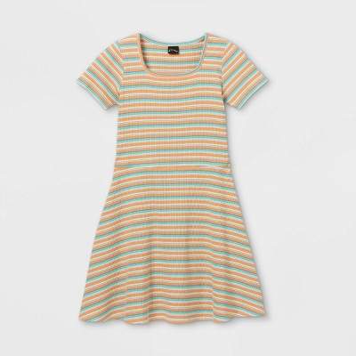 Girls' Square Neck Short Sleeve Ribbed Dress - art class™