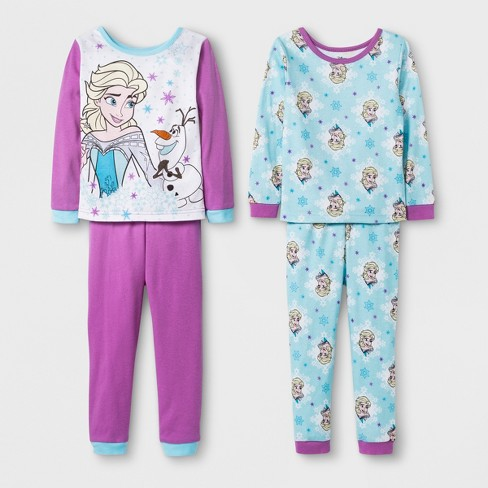 8dde02da05 Toddler Girls  Frozen 4pc Cotton Pajama Set - Purple 3T   Target