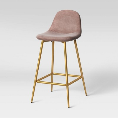 Copley Counter Height Barstool Blush Velvet/Brass - Project 62™