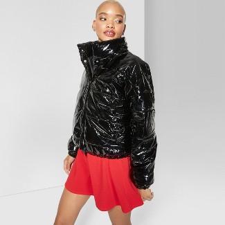 Women's Drop Shoulder Zip-Up Puffer Jacket - Wild Fable™ Black L