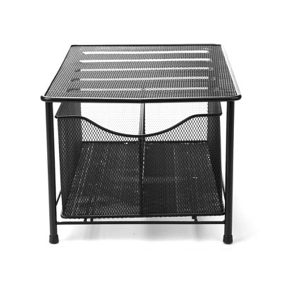 MIND READER Storage Basket and Organizer [METAL MESH] 3-Compartment Pull-out / Sliding Organizing Drawer, Under the Sink Kitchen and Bathroom Shelf Cabinet (BLACK)