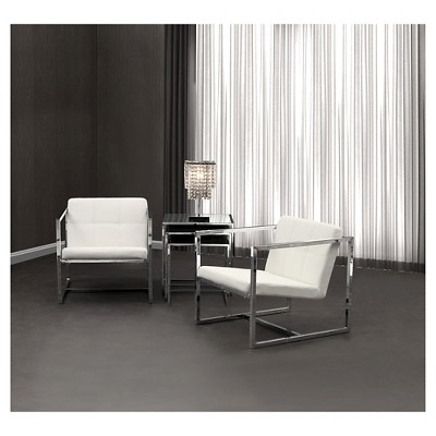 Tufted Faux Leather And Chrome Steel Accent Chair   White   ZM Home : Target