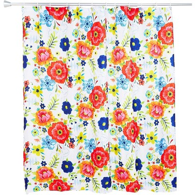 Floral Shower Curtain Set with 12 Hooks, Flower Bathroom Decor (70 x 71 In)