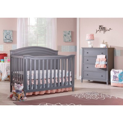 Sorelle Berkley Round Top Panel Standard Full-Sized Crib Gray