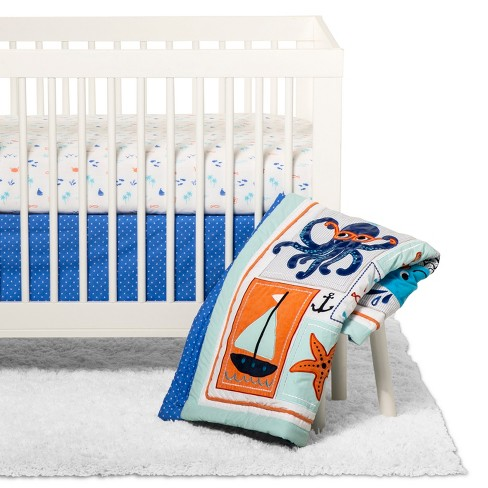 Crib Bedding Set Trend Lab Blue - image 1 of 4