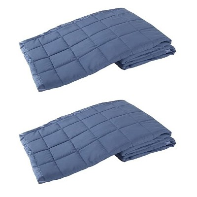 Elite Home 66 x 90 Inch Soft Lightweight Solid Cozy Nights Down Alternative Polyester Throw Blanket for Couch or Bed, Twin, Medium Blue (2 Pack)