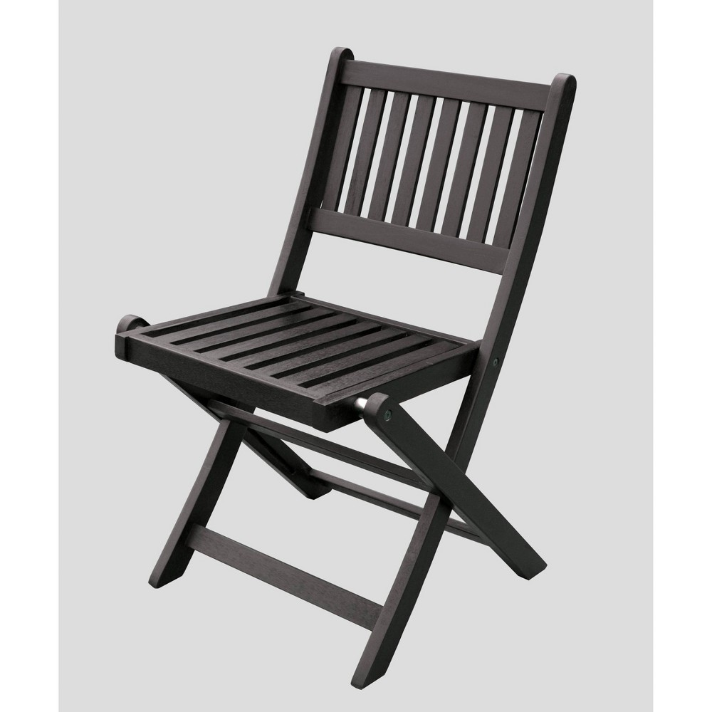 Image of 4pk Eucalyptus Folding Chairs Black - Merry Products