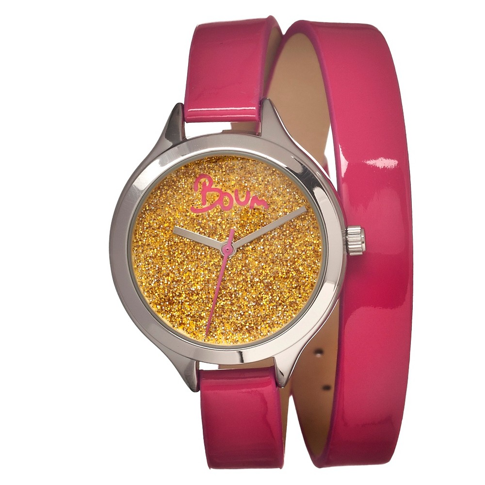 Women's Boum Confetti Watch with Custom Glitter Dial - Pink/Silver