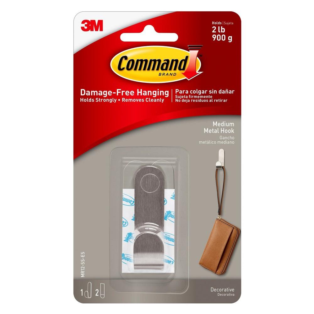 Command Modern Metal Stainless Steel (Silver) Medium Hook