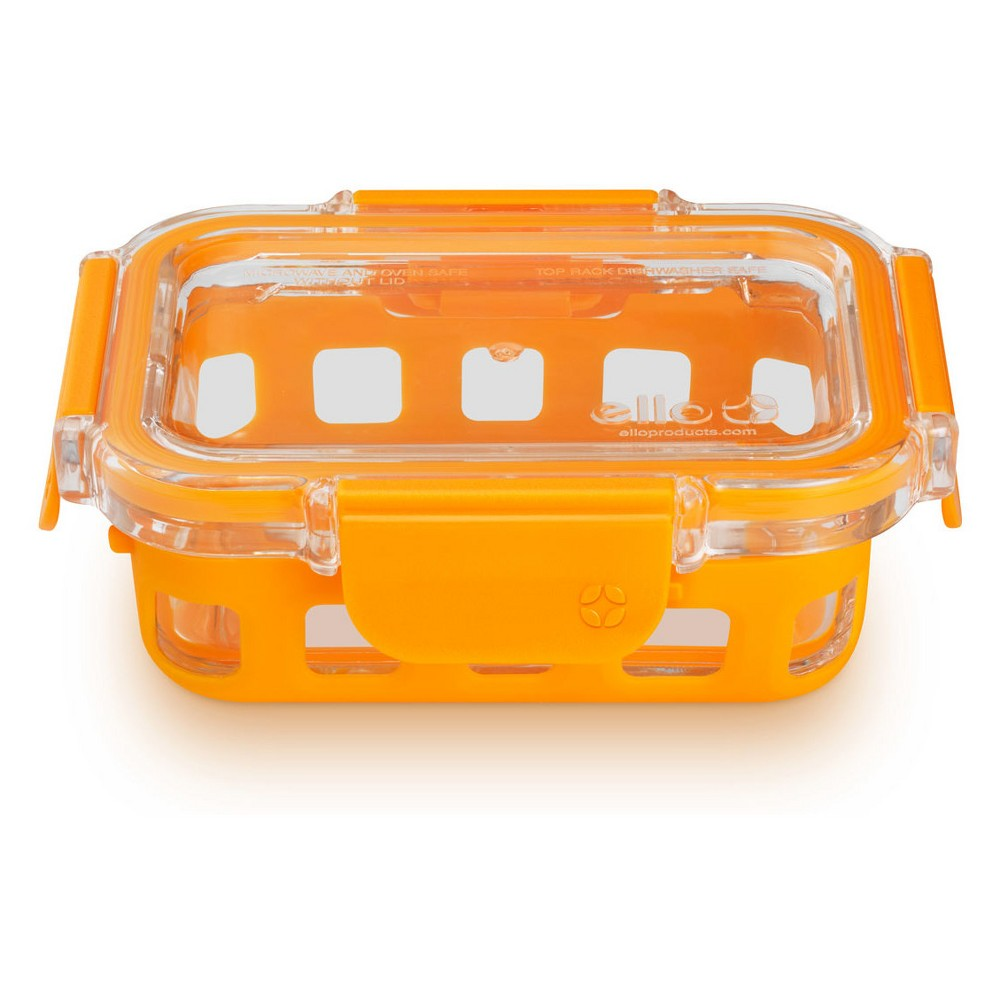 Image of Ello 1 cup Glass Food Storage Container, Apricot Orange
