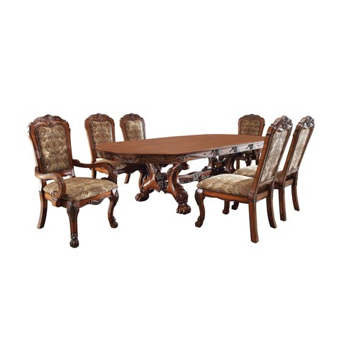 ioHomes 7pc Lion Claw Elegant Carved Dining Table Set Wood/Antique Oak - IoHomes 7pc Lion Claw Elegant Carved Dining Table Set Wood/Antique
