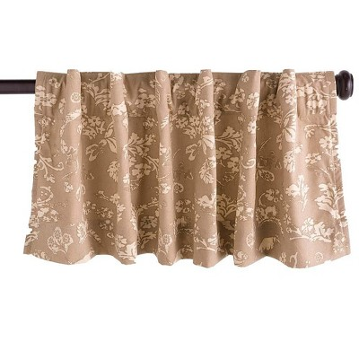"Floral Damask Rod-Pocket Homespun Insulated Curtain Valance, 42""W x 14""L"