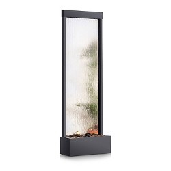 """72"""" Mirror Waterfall With Decorative Stones And Light - Silver - Alpine Corporation"""