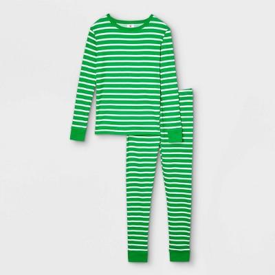 Kids' Striped 100% Cotton Tight Fit Matching Family Pajama Set - Green