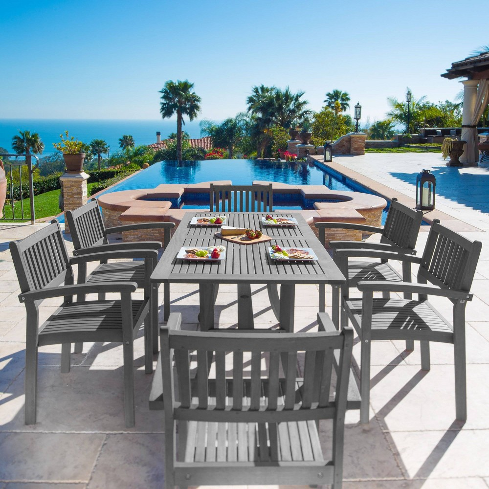 Renaissance Outdoor Patio Hand-Scraped Wood 7pc Dining Set with Stacking Chairs, Mid Gray