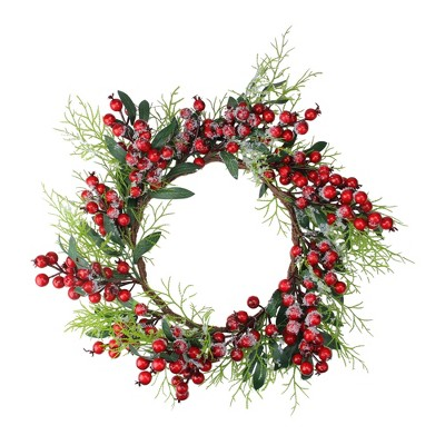"""Northlight 18"""" Unlit Frosted Green Leaves and Red Berries Artificial Christmas Wreath"""
