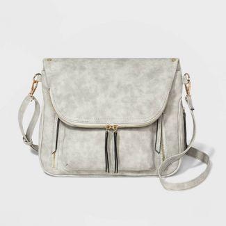 VR NYC Kimmie Zippered Pocket Crossbody Bag - Gray