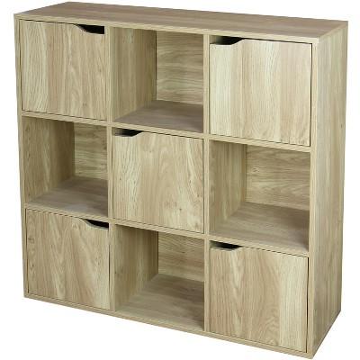 Home Basics 9 Cube Wood Storage Shelf with Doors, Natural