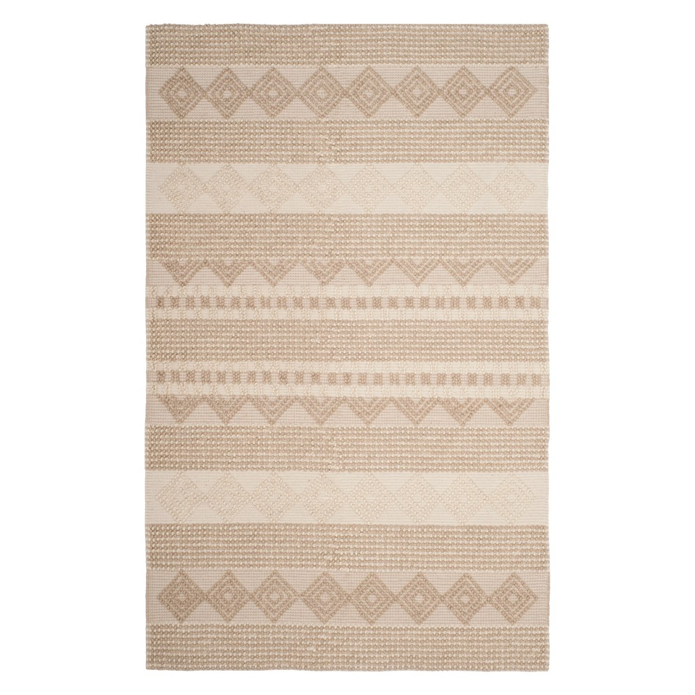 6'X9' Geometric Woven Area Rug Beige/Ivory - Safavieh