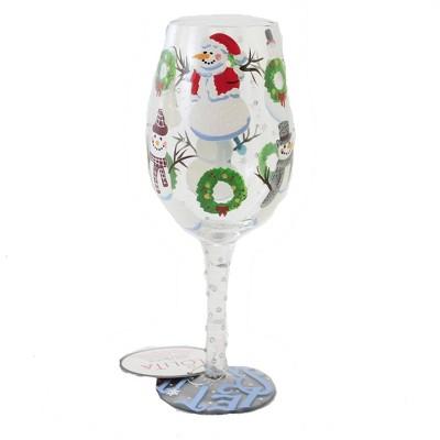 "Tabletop 9.0"" Jolly Snowmen Lolita Stemmed Wine Glass Christmas Enesco  -  Drinkware"