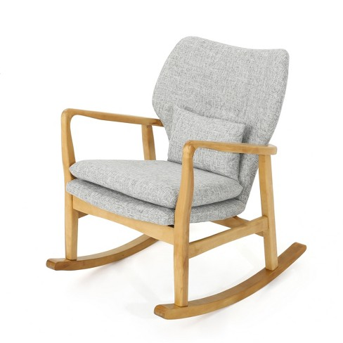 Groovy Benny Mid Century Modern Rocking Chair Light Gray Christopher Knight Home Evergreenethics Interior Chair Design Evergreenethicsorg