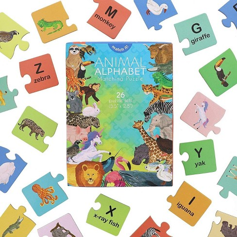 """Alphabet Learning Toys, Animal Words Matching Puzzles, Letter Games for Kids, Preschoolers, 26 Self-Checking Puzzle Sets, 5.5"""" x 2.6"""" - image 1 of 4"""