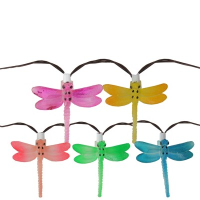 Northlight 10 Battery Operated Vibrantly Colored LED Dragonfly Garden Patio Umbrella Light - 27.58 ft Brown Wire