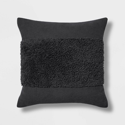 "18""x18"" Square Modern Tufted Throw Pillow Black - Project 62™"