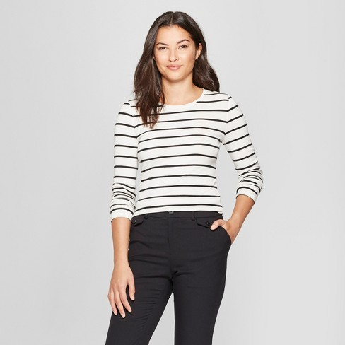 b737c5bb70b Women s Striped Long Sleeve Fitted Crew T-Shirt - A New Day™ White ...