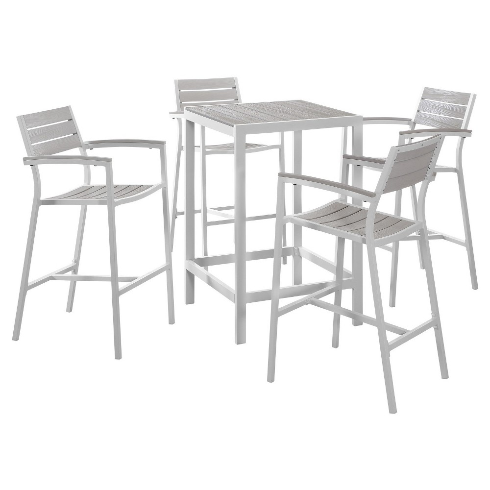Maine 5pc Square Metal Patio Set - White/Light Gray - Modway