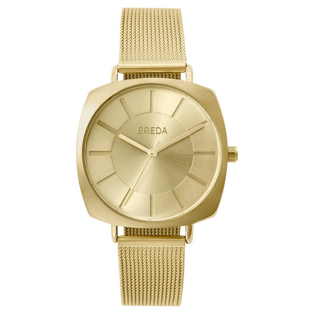 Breda Women's 'Vix' 7018A Gold Stainless Steel Mesh Strap Watch, 36MM, Gold Shimmer