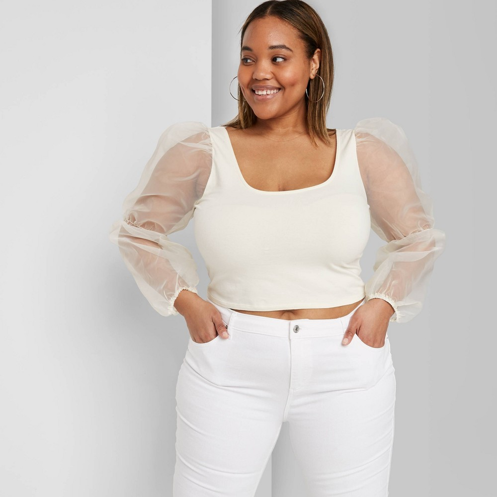 Image of Women's Plus Size Sheer Balloon Long Sleeve Scoop Neck Fitted Top - Wild Fable Cream 1X, Women's, Size: 1XL, White