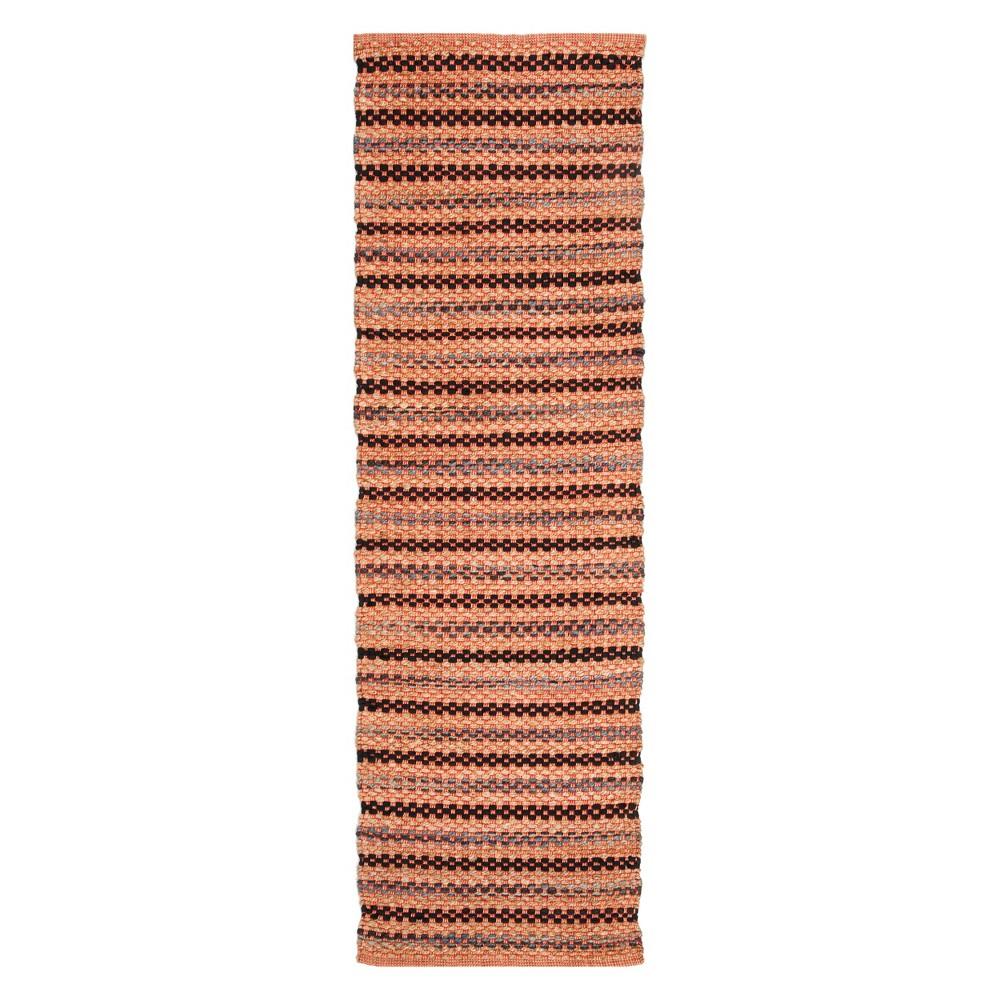 22X8 Stripe Woven Runner Orange/Black - Safavieh Best