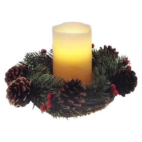 Decorated Wreath with Candles - image 1 of 2