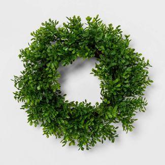 "12"" Artificial Boxwood Wreath Green - Threshold™"