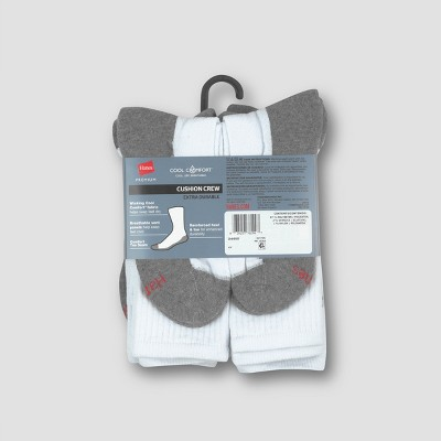 Men's Hanes Premium 10pk White Crew Socks, Size: 6-12