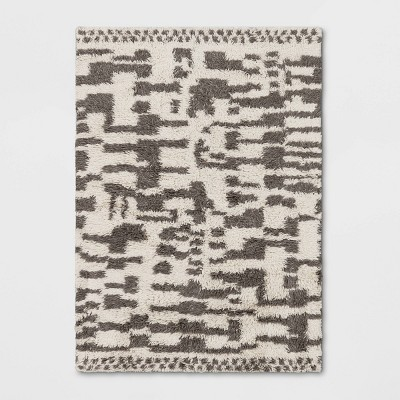 Jutland Geo Moroccan Hand Tufted Shag Area Rug Gray - Project 62™