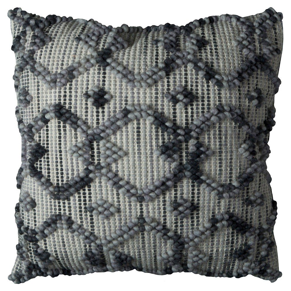 Natural/Gray Diamond Pattern Throw Pillow (20