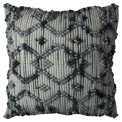 "Natural/Gray Diamond Pattern Throw Pillow (20""x20"") - Rizzy Home® - image 1 of 2"