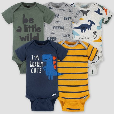 Gerber Baby Boys' 5pk Dino Short Sleeve Onesies - Green/Blue/Yellow Newborn