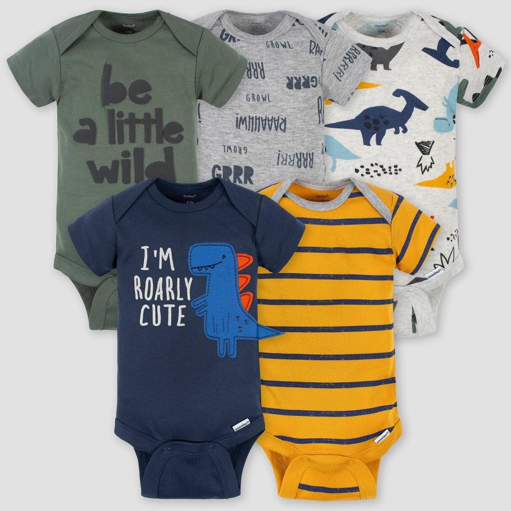 Gerber Baby Boys 39 5pk Dino Short Sleeve Onesies Green Blue Yellow 3 6m