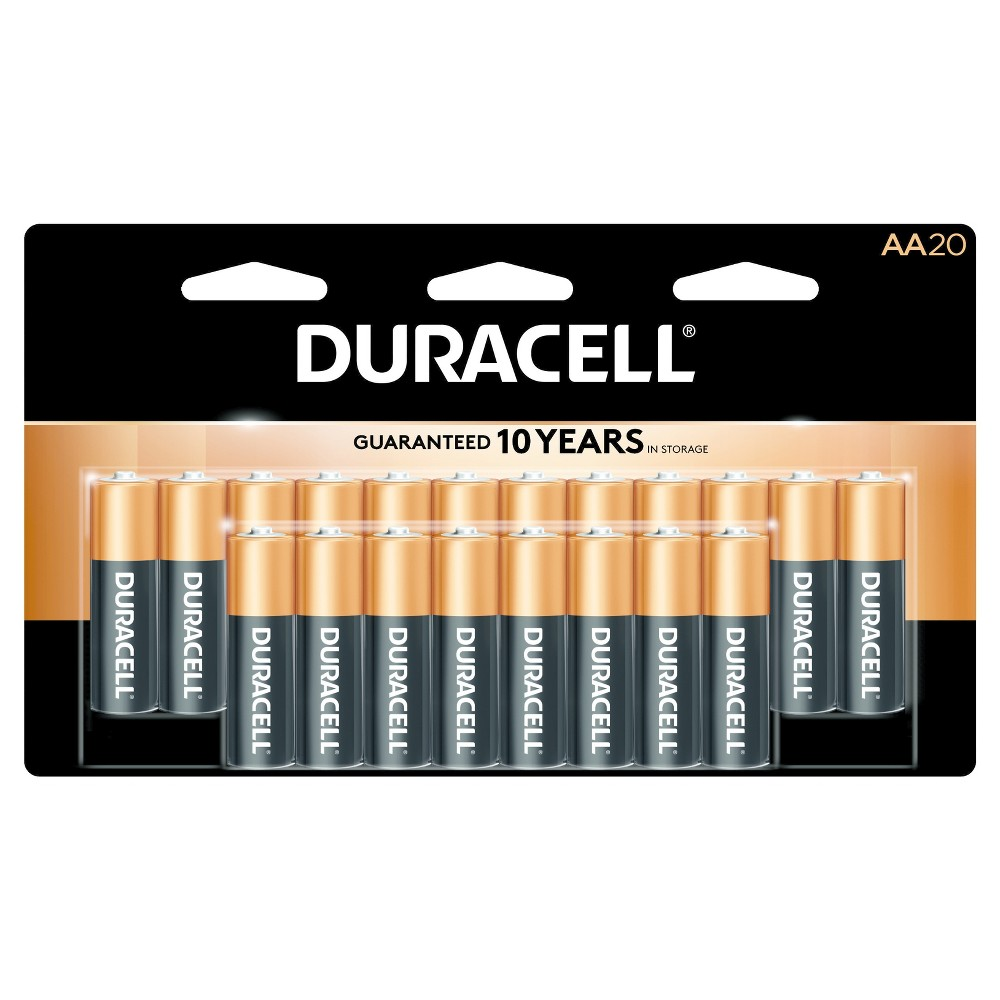 Duracell Coppertop AA Batteries 20ct, Black