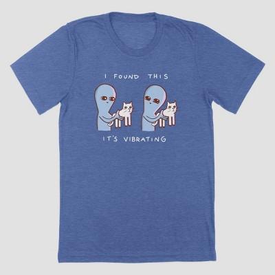 Men's Strange Planet Vibrating Cat Short Sleeve Crewneck T-Shirt - Heather Blue