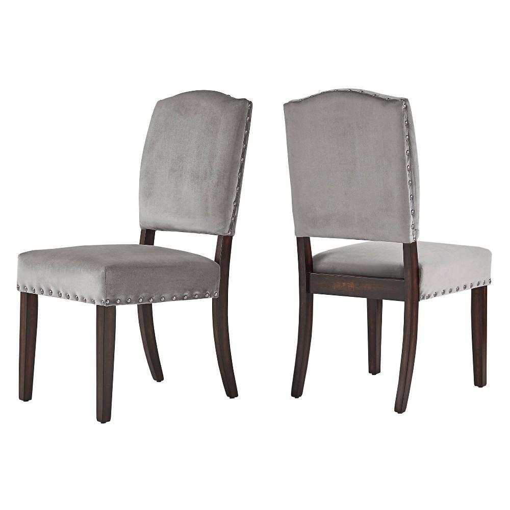 Cobble Hill Velvet Nailhead Dining chair Set of 2 Gray - Inspire Q, Grey