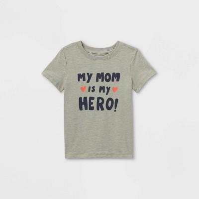 Toddler Boys' 'Mom Is My Hero' Graphic Short Sleeve T-Shirt - Cat & Jack™ Medium Heather Gray