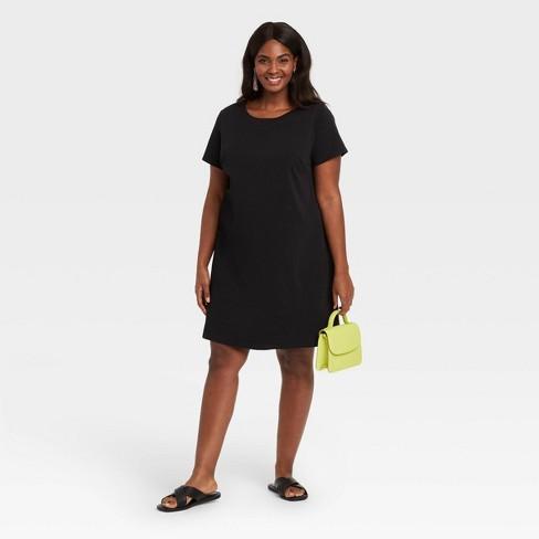 Women's Plus Size Short Sleeve T-Shirt Dress - Ava & Viv™ Black 4X